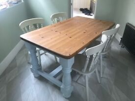 Kitchen Table and chairs - pastel paints with oak table top. Sold as seen. Requires van for pick-up