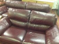 Lovely Wine Real Leather 3&2 Suite - Excellent Condition