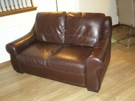 Brown Leather 2 Seater Sofa, 1 Chair, 1Footstool