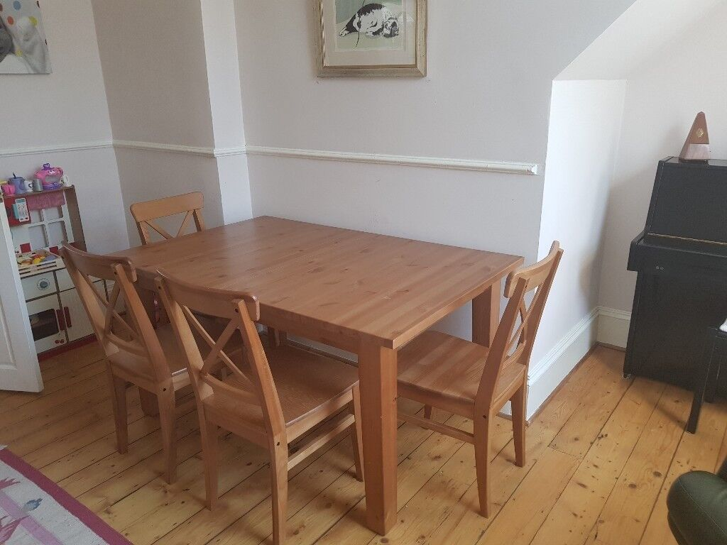 Ikea Stornas Dining Table And 4 X Chairs Antique Stain