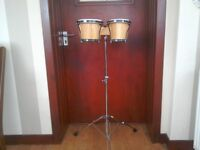 Set Of Bongo Drums With Chrome Stand
