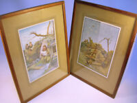"""Collectable x2 WW1 Framed Bruce Bairnsfather Prints 15"""" x 11.5"""" VGC (WH_1363)"""