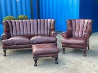 Beautiful Chesterfield Tetrad Blake Brown Leather 3 Seater Sofa, Chair & Matching Footstool