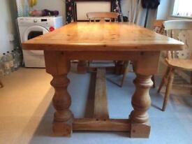 Chunky Pine Farmhouse Table & 6 Chairs