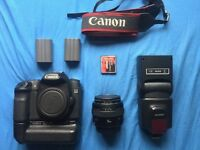 Canon 50D with 50mm 1.4 + Flash Gun