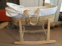 Moses Basket and Wooden Rocking Stand £25