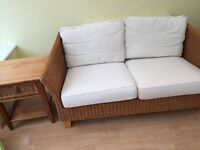 2 wicker seater and matching conservatory side table