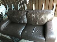 3 seater brown leather setter