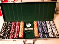 Poker chips and dice in solid case