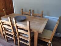 Antique pine dining table and 6 chairs.