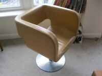Original 1970s heavy brown leather lobby chair swivel space age funk era