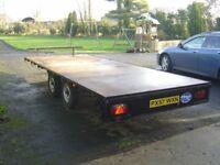Very Strong Large Flatbed Trailer 16'x6'6 / Car, Digger, Van, Pallets etc Transporter