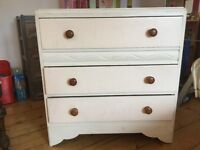 3 drawer wooden chest, painted.