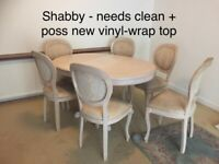 SHABBY PROJECT Extendable Kitchen/Dining Table + 6 Chairs