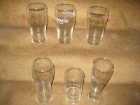 6 Mixed Size Glasses - Other Glasses Available; Please Ask