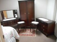 BEDROOM SUITE. STAG MINSTREL, DRESSING TABLE. DOUBLE WARDROBE, C O D, 2 BEDSIDE TABLES in V G C