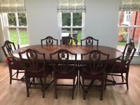 DINING TABLE WITH 8 CHAIRS (2 CARVERS, 6 DINING)