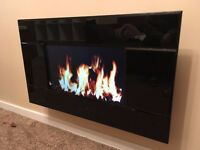 Electric fireplace with display