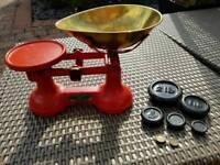 Vintage FJ Thornton kitchen/shop Viking scales. Cast Iron with Brass bowl.
