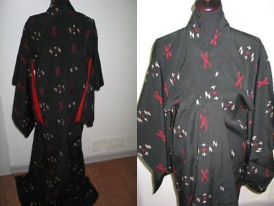 Antique Vintage 1930s 1940s  Japanese Asian Kimono-Opera Coat Ornate Silk Print