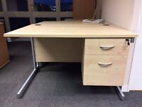 Rectangular Desk & Fixed Pedestal, Finished In Maple. 1200mm Width x 800mm Depth. 10 In Stock.