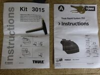 Pair of Thurle Roof Bars and Feet. Kit 753/3015