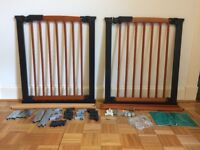 2 Mothercare Wooden 'Avantgarde' Walk Through Plus Stair/Baby Gates, with 2 extension sets