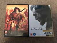 Daniel day Lewis films- the last of the mohicans and Lincoln