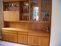 Large Teak Dresser and display cabinet With lighting