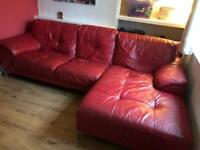 4 seater DFS Red Leather sofa