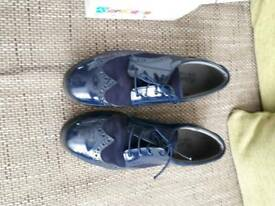 BOYS FORMAL NAVY BLUE SUEDE PATENT BROGUE SHOES