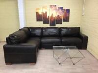 Small Family Brown Leather Corner Sofa