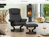 Leather reclining massage chair and foot stool