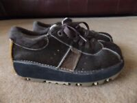 Unusual Real Cowhide - Brown Leather Chunky Heel wedge Shoes by THE ART COMPANY Sz UK 4