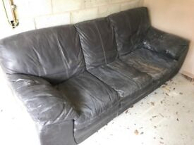 3 seater brown leather sofa perfect for setting up new home