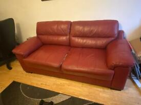 Red leather sofas and chair 3pc Suite