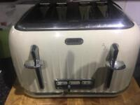 Cream kettle toaster and microwave