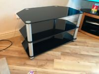Stylish TV Stand - Black Glass