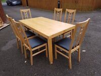 Ikea Solid Wood Extending Table & 6 Chairs FREE DELIVERY (04578)