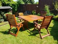 Garden furniture Eucalyptus set large table & four chairs
