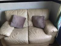 Cream 3 and 2 seater leather sofas