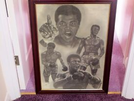Set of 6 Large Wood Framed Pictures of Famous Boxing Legends.