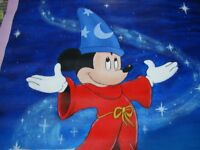 Hand Painted Mickey Mouse on canvas. size 33 x 43 inches.
