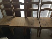 Wooden table and x4 chairs