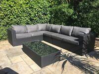 Gorgeous Black Prestige Rattan Large Right Corner Garden Sofa Set RRP £1100