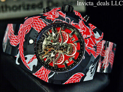 NEW Invicta Men's 52mm Pro Diver DRAGON HYDROPLATED Chrono Red & Black SS Watch