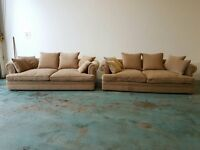 2 x DURESTA FABRIC SOFAS HANDMADE DUCK FEATHERS CUSHIONS SOFA / SUITE / 3-4 SEATER SET CAN DELIVER