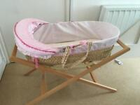 Mamas & papas pink moses basket with stand