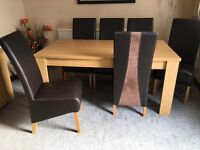Dinning table with 6 chairs & side board