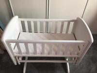 White Troll Glide Crib! Excellent Condition, mama & papa mattress included